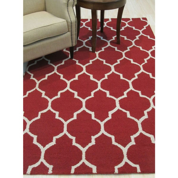 Hand Tufted Traditional Oriental Red Wool Rug With Non: Shop Hand-tufted Traditional Moroccan Trellis Red Wool