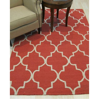 Hand-tufted Traditional Moroccan Trellis Rust Wool Area Rug (8' x 10')
