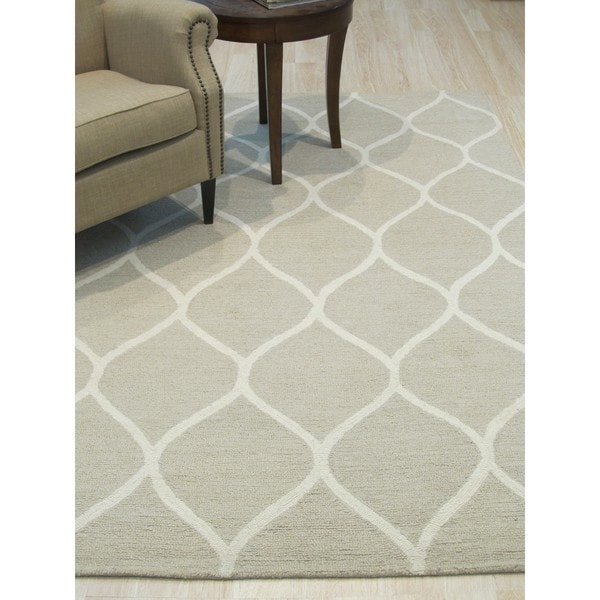 Shop Hand-tufted Traditional Moroccan Trellis Beige Wool