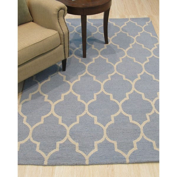 Hand Tufted Traditional Moroccan Trellis Light Blue Wool Area Rug 8 X27
