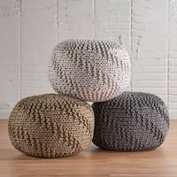 Hazel Weaved Fabric Round Ottoman Pouf by Christopher Knight Home