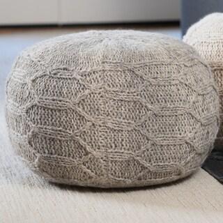 Malibu Round Fabric Ottoman Pouf by Christopher Knight Home