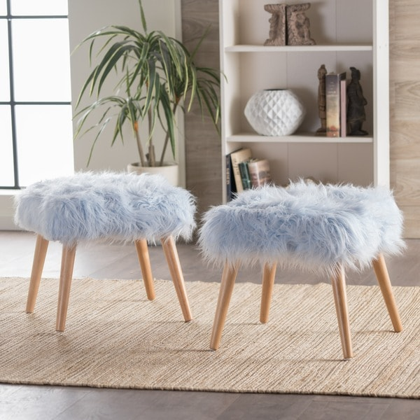 Huxley Faux Fur Ottoman Stool by Christopher Knight Home (Set of 2) - Free  Shipping Today - Overstock.com - 21268636 - Huxley Faux Fur Ottoman Stool By Christopher Knight Home (Set Of 2
