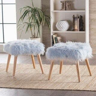 Huxley Faux Fur Ottoman Stool by Christopher Knight Home (Set of 2)