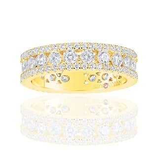 Suzy Levian Golden Sterling Silver Cubic Zirconia White Three Row Modern Eternity Band - Yellow
