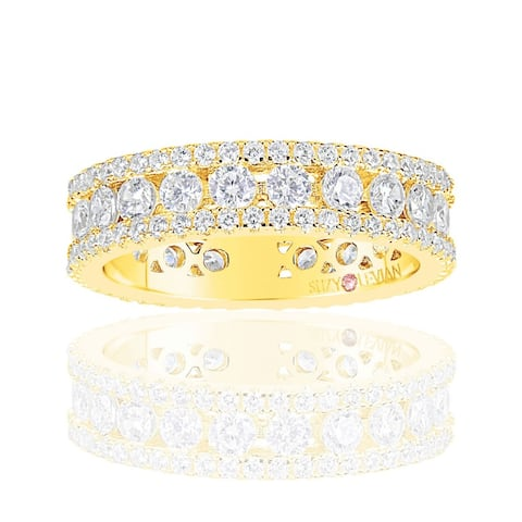 Suzy L. Golden Sterling Silver Cubic Zirconia White Three Row Modern Eternity Band - Yellow