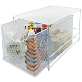 Mesh Steel Drawer Cabinet Organizer with Cover - White