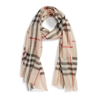 Burbery Wool and Silk Lightweight Check Scarf