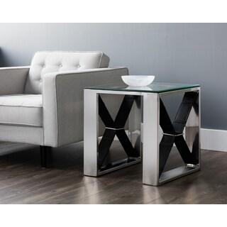 Mavis Black Leather Side Table