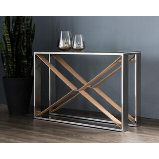 Mavis Contemporary Tan Leather Console Table
