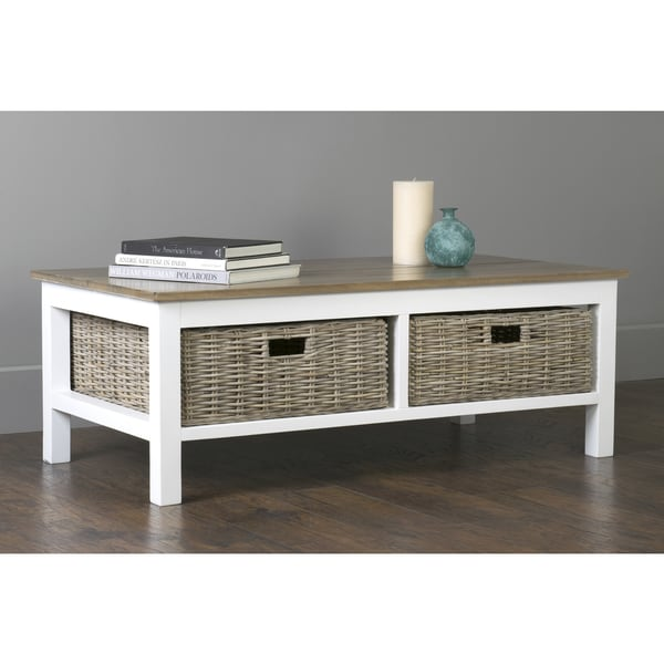 East At Main's Delmar White Mango Wood Rectangular Coffee Table
