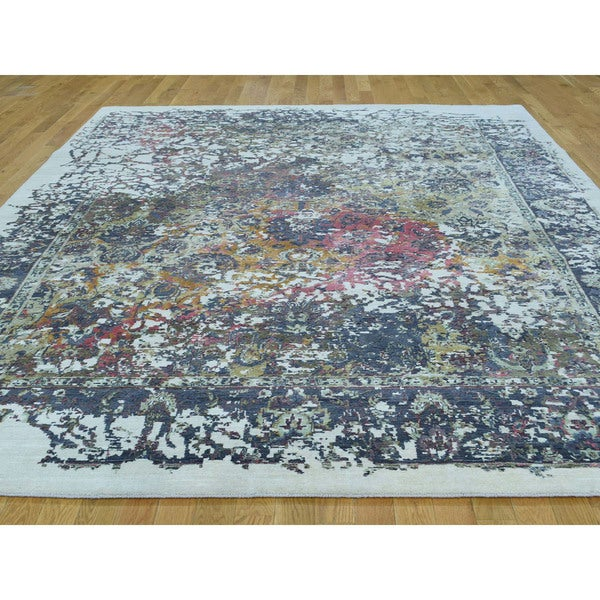 Hand Knotted Tabriz Broken Design Multicolored Wool And Silk Area Rug 8 2 X 10 Free Shipping Today 21268748