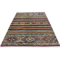 Shahbanu Rugs Handmade Super Kazak Khorjin Design Pure Wool Oriental Rug (4'3x6'5)