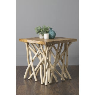 East At Main's Binger Brown Recycled Teakwood Square Accent Table
