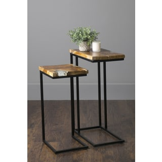 East At Main's Coppell Brown Teakwood Rectangular Nesting Accent Table (Set of 2)