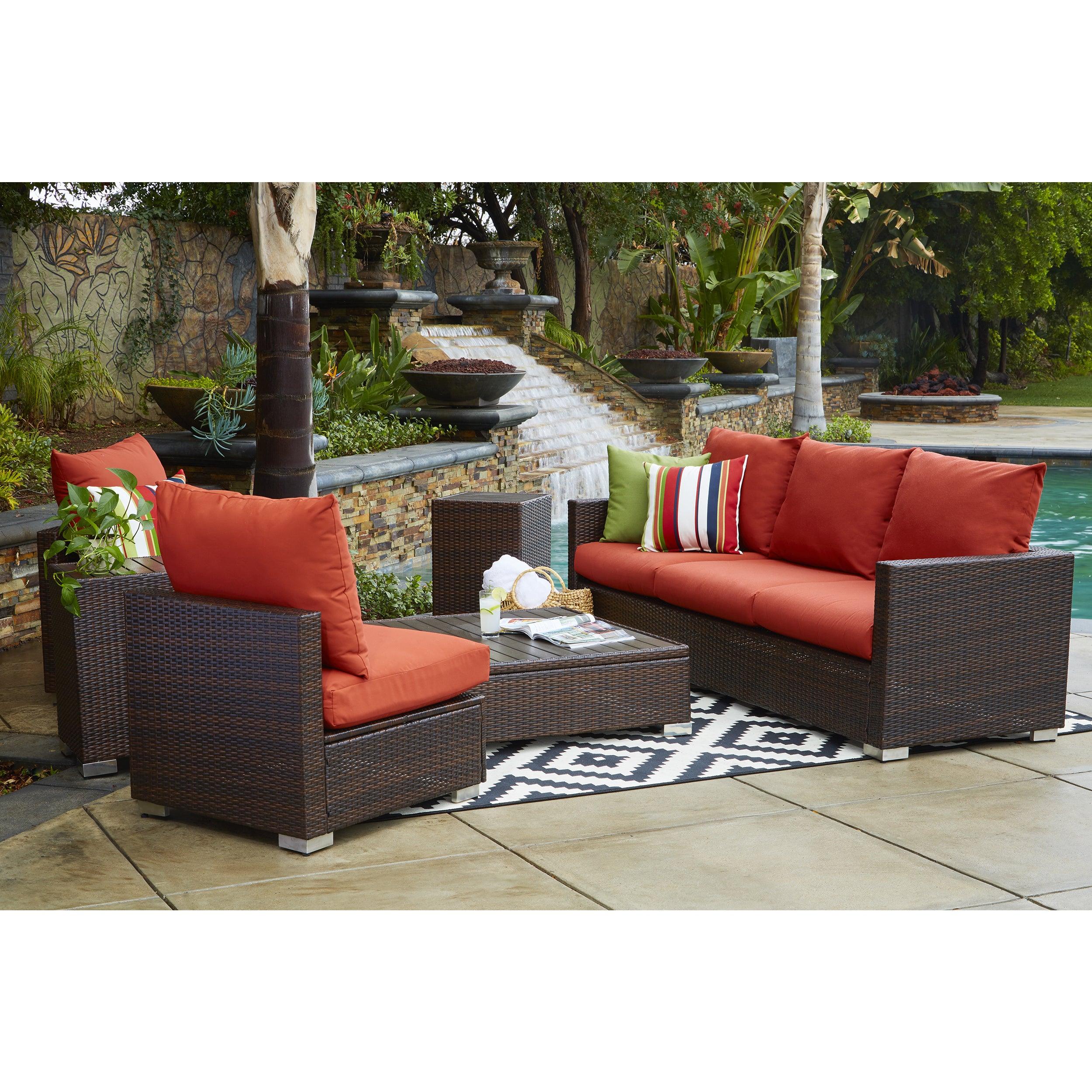 Handy Living Aldrich Indoor/ Outdoor 3 Piece Sofa Set With Sunbrella  Terracotta Cushions