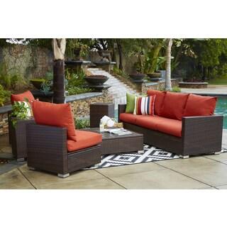 Handy Living Aldrich Indoor/ Outdoor 3-piece Sofa Set with Sunbrella Terracotta Cushions