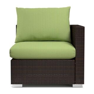 Handy Living Aldrich Indoor/ Outdoor Rattan Corner Chair with Sunbrella Cilantro Cushions