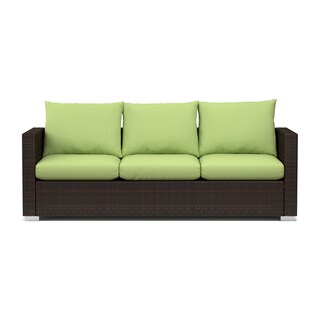 Handy Living Aldrich Indoor/ Outdoor Rattan Sofa with Cilantro Sunbrella Cushions