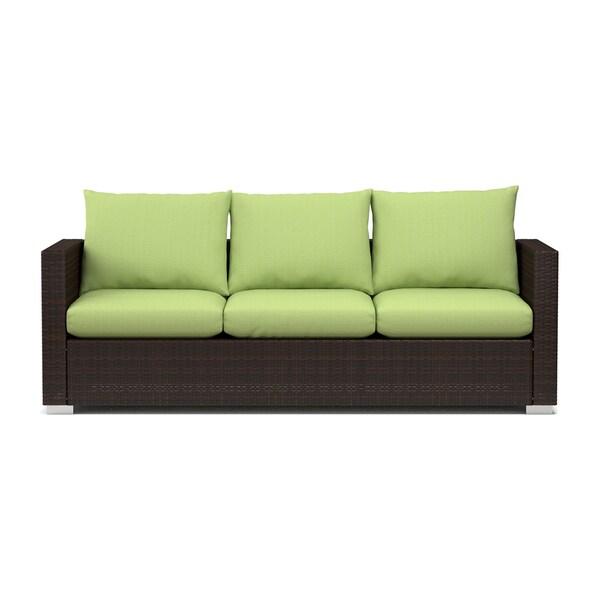 Handy Living Aldrich Indoor Outdoor Rattan Sofa With Cilantro Sunbrella Cushions Free
