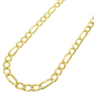 14k Yellow Gold Unisex 5mm Solid Figaro Link Necklace Chain
