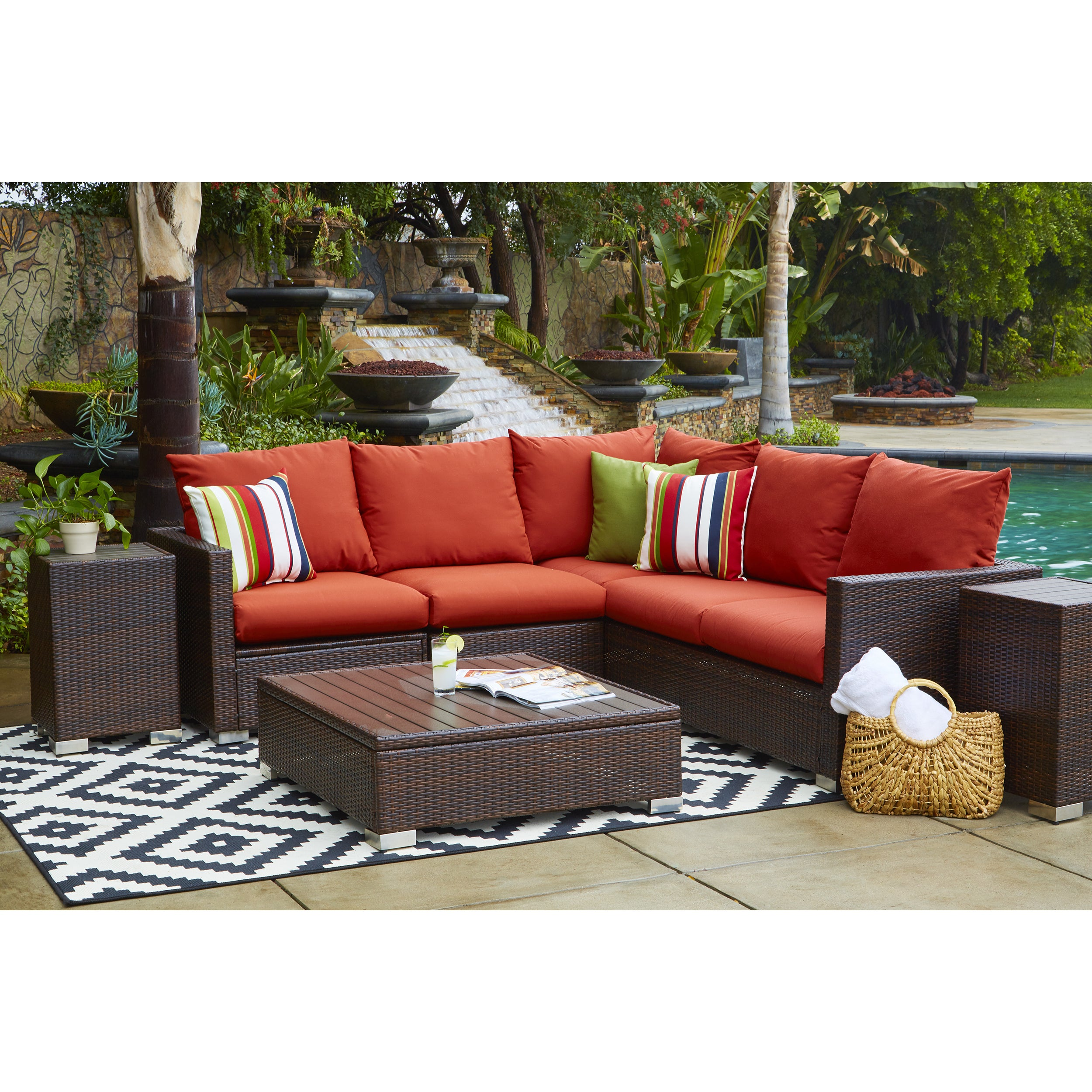 Beau Handy Living Aldrich Indoor/ Outdoor 3 Piece Sectional Set With Sunbrella  Terracotta Cushions