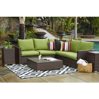 Handy Living Aldrich Grey 5-piece Rattan Indoor/ Outdoor Sectional ...