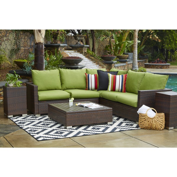 Handy Living Aldrich Indoor/ Outdoor 3 Piece Sectional Set With Sunbrella  Cilantro Cushions