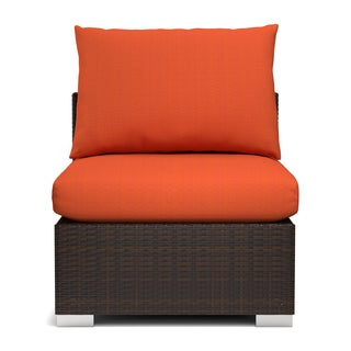 Handy Living Aldrich Indoor/ Outdoor Rattan Armless Chair with Sunbrella Terracotta Cushions