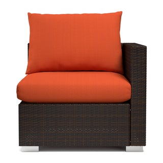 Handy Living Aldrich Indoor/ Outdoor Rattan Corner Chair with Sunbrella Terracotta Cushions