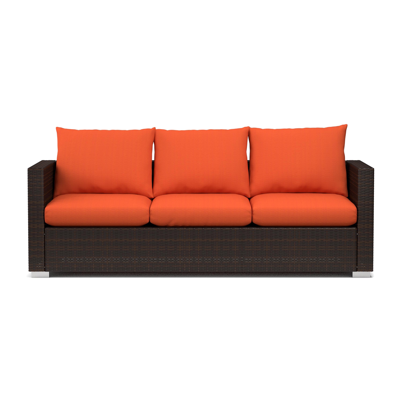 Handy Living Aldrich Indoor Outdoor Rattan Sofa With Sunbrella Terracotta Cushions