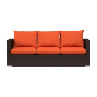 Handy Living Aldrich Indoor/ Outdoor Rattan Sofa with Sunbrella Terracotta Cushions