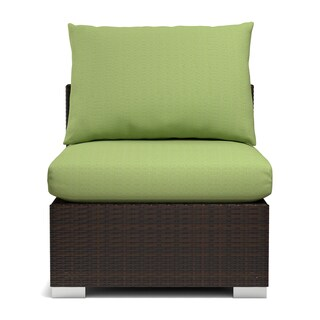 Havenside Home Stillwater Indoor/ Outdoor Rattan Armless Chair with Cilantro Cushions