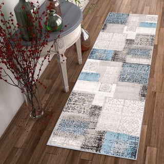 Well Woven Modern Distressed Patchwork Runner Rug (2'3 x 7'3 )