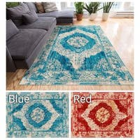 "Well-woven Vintage Distressed Modern Medallion Area Rug - 5'3"" x 7'5"""