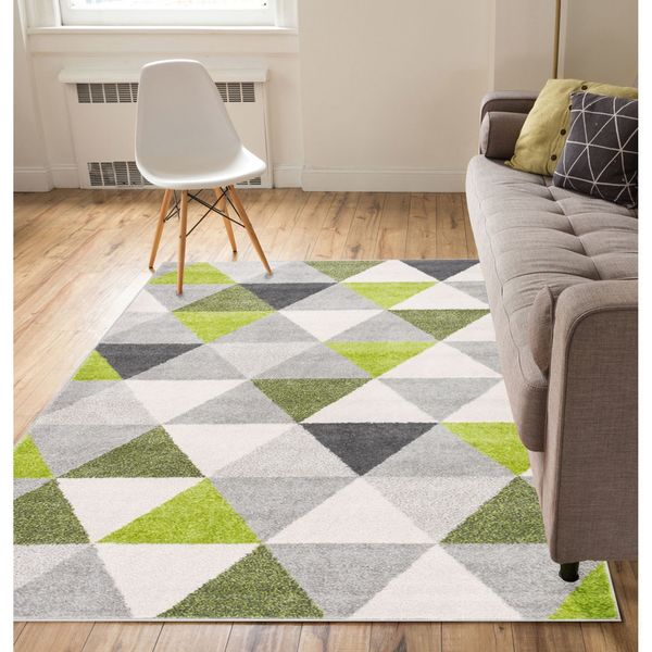 Do Area Rugs Work Over Carpet: Shop Well-woven Mid Century Modern Geometric Triangles