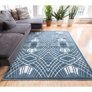 Well Woven Zamboni Lines and Waves Modern Area Rug (7'10 x 9'10 )