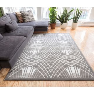 Well Woven Zamboni Lines and Waves Modern Area Rug (9'3 x 12'6 )