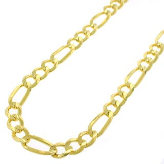 14k Yellow Gold Unisex 6mm Solid Figaro Link Necklace Chain