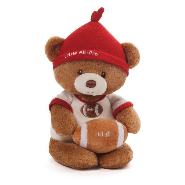 Football Bear Plush Rattle Toy