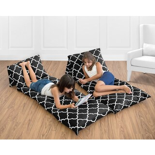 Sweet Jojo Designs Red and Black Trellis Collection Floor Pillow Lounger Cover