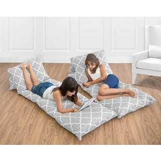 Sweet Jojo Designs Grey and White Trellis Collection Microfiber Floor Pillow Lounger Cover