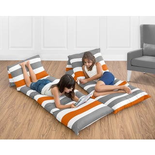 Sweet Jojo Designs Grey and Orange Stripe Collection Floor Pillow Lounger Cover