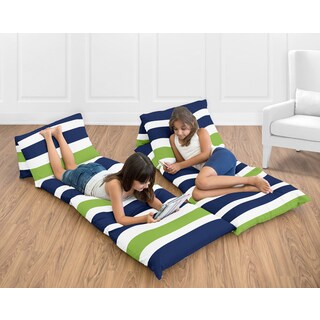 Floor Pillow Lounger Cover Navy and Lime Stripe Collection by Sweet Jojo Designs (Pillows Not Included)