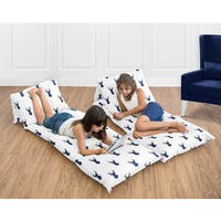 Sweet Jojo Designs Navy and White Woodland Deer Collection Floor Pillow Lounger Cover (Pillows Not Included)