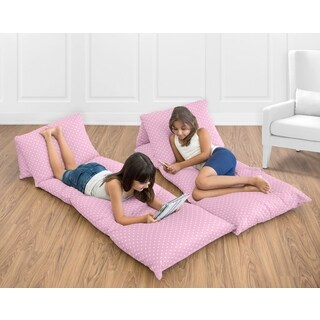 Sweet Jojo Designs Skylar Collection Pink Polka Dot Cotton Floor Pillow Lounger Cover (Pillows Not Included)