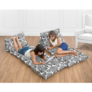 Sweet Jojo Designs Black/White Isabella Collection Floor Pillow Lounger Cover (Pillows Not Included)