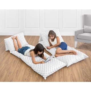 Sweet Jojo Designs for the Earth and Sky Collection Grey Triangle Print Floor Pillow Lounger Cover
