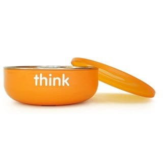 Thinkbaby Orange Stainless Steel BPA-free Low-wall Baby Bowl