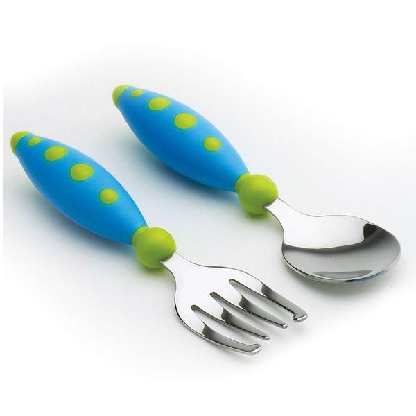 Nuk Gerber Graduates Blue/Green Dots Safety Fork and Spoon Set